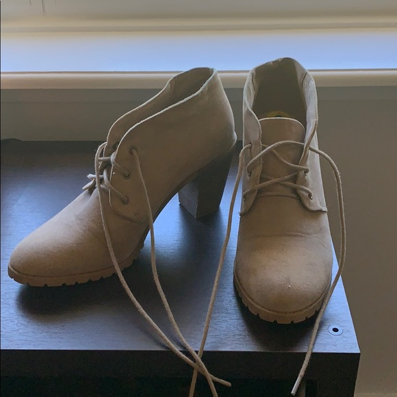 Restricted Shoes - Taupe lace up chukka booties with wood heel